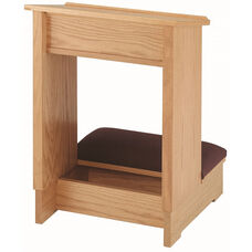 Stained Red Oak Single Prayer Desk with Upholstered Padded Kneeler