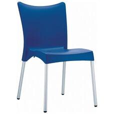 Juliette Outdoor Resin Stackable Dining Chair with Aluminum Legs - Dark Blue