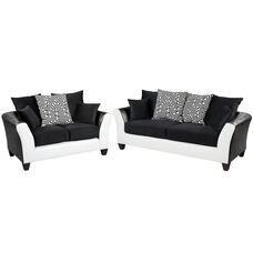 Riverstone Implosion Black Velvet Living Room Set with Black & White Frame