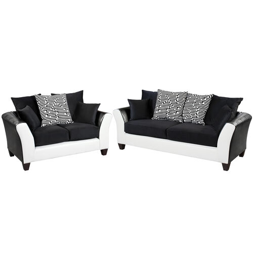 Our Riverstone Implosion Black Velvet Living Room Set with Black & White Frame is on sale now.