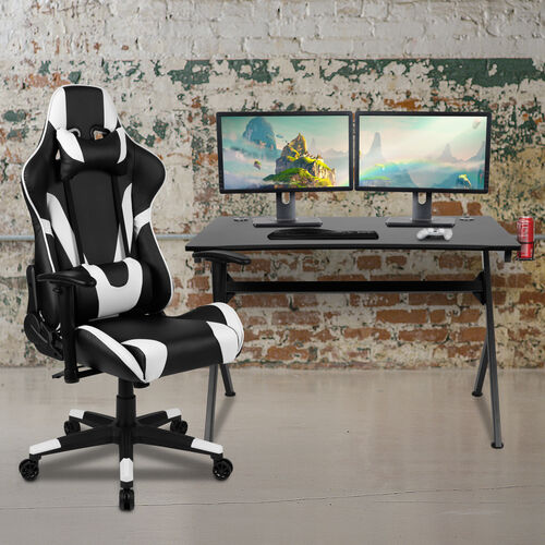 Gaming Desk and Reclining Gaming Chair Set with Cup Holder, Headphone Hook & 2 Wire Management Holes
