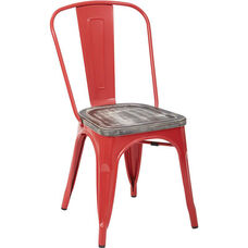 OSP Designs Bristow Metal Chair with Vintage Wood Seat - Set of 4 - Red and Ash Crazy Horse