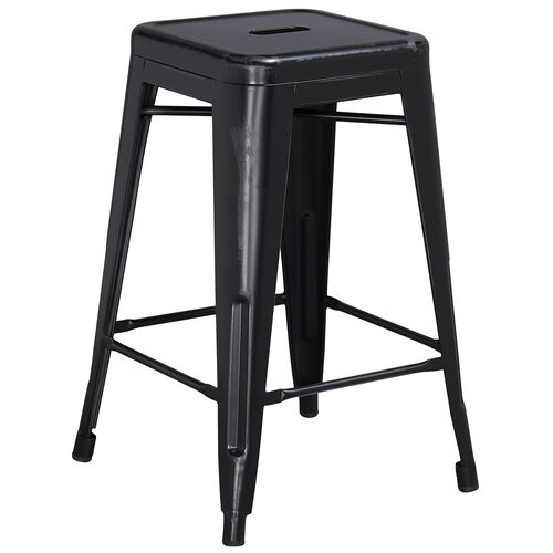 """Our Commercial Grade 24"""" High Backless Distressed Metal Indoor-Outdoor Counter Height Stool is on sale now."""