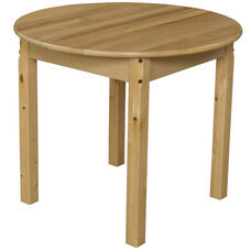 Solid Hardwood Round Table with Rounded Child Safe Corners and Non-Toxic Natural Finish - 30