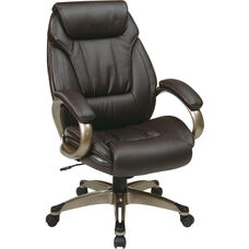 Work Smart ECH30621 Executive Eco Leather Chair with Padded Arms and Coated Base - Espresso