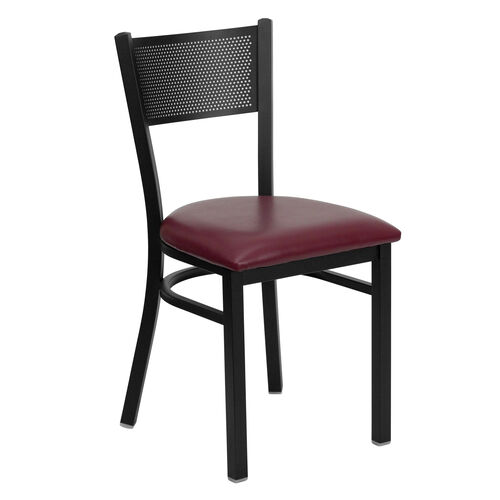 Our Black Grid Back Metal Restaurant Chair with Burgundy Vinyl Seat is on sale now.