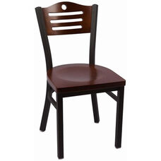 Eagle Series Wood Back Armless Chair with Steel Frame and Wood Seat - Walnut