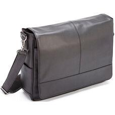 Laptop Messenger Bag - Milano Top Grain Leather - Black
