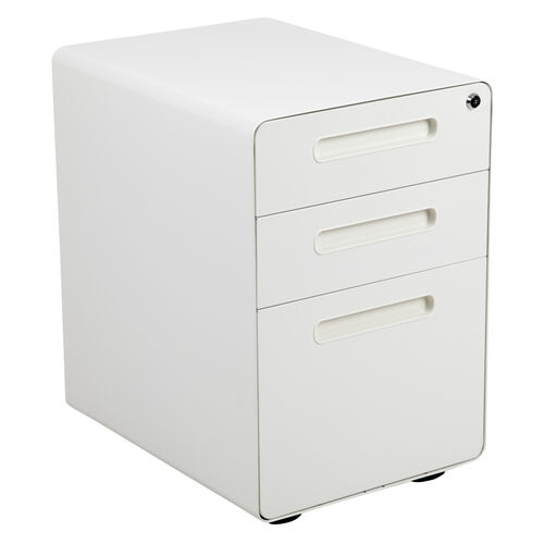 Our Ergonomic 3-Drawer Mobile Locking Filing Cabinet with Anti-Tilt Mechanism and Hanging Drawer for Legal & Letter Files, White is on sale now.