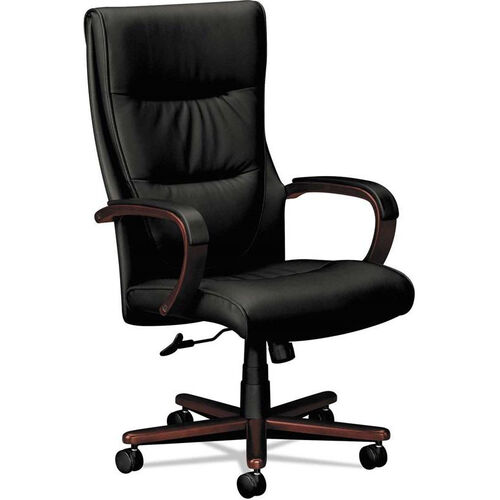 Basyx® VL844 Series Leather High-Back Swivel and Tilt Chair with Mahogany Frame - Black Leather
