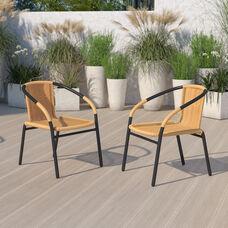 2 Pack Beige Rattan Indoor-Outdoor Restaurant Stack Chair