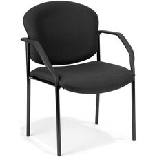 Manor Guest and Reception Fabric Chair with Arms - Black