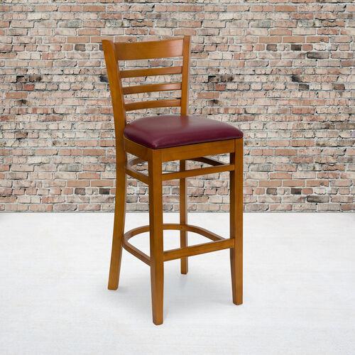 Cherry Finished Ladder Back Wooden Restaurant Barstool with Burgundy Vinyl Seat