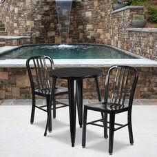 "Commercial Grade 24"" Round Black Metal Indoor-Outdoor Table Set with 2 Vertical Slat Back Chairs"