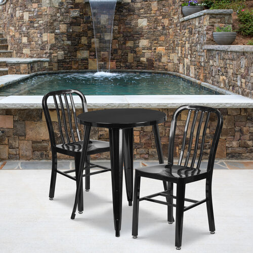 "Our Commercial Grade 24"" Round Black Metal Indoor-Outdoor Table Set with 2 Vertical Slat Back Chairs is on sale now."