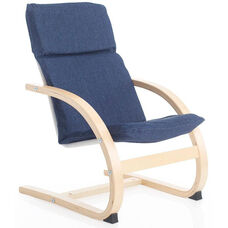 Kiddie Rocker with Removable Cushion and Steam-Bent Plywood Construction - Denim - 16