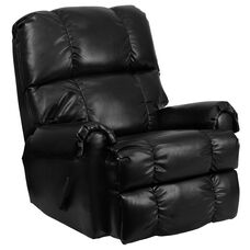 Contemporary Ty Black Leather Rocker Recliner