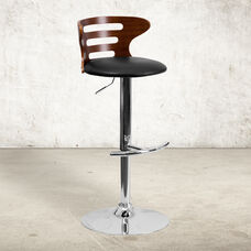 Walnut Bentwood Adjustable Height Barstool with Three Slot Cutout Back and Black Vinyl Seat