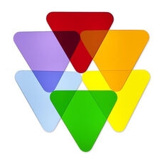 Color Wheel Triangle Disk Shapes for Light Table in Multi-Colored Acrylic - Set of 6