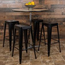 """30"""" High Metal Indoor Bar Stool in Black - Stackable Set of 4"""