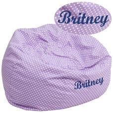 Personalized Oversized Lavender Dot Bean Bag Chair for Kids and Adults