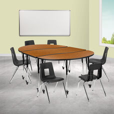"""Mobile 86"""" Oval Wave Collaborative Laminate Activity Table Set with 18"""" Student Stack Chairs, Oak/Black"""