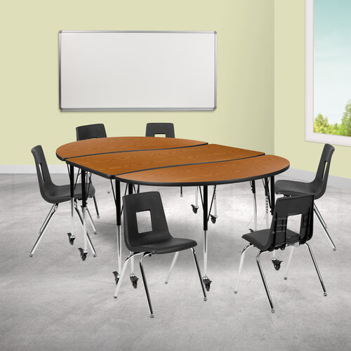 """Our Mobile 86"""" Oval Wave Collaborative Laminate Activity Table Set with 18"""" Student Stack Chairs, Oak/Black is on sale now."""