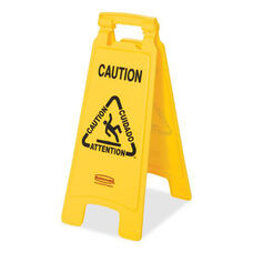 Rubbermaid Commercial Products Multilingual Caution Floor Sign - 11