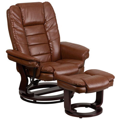 Our Contemporary Multi-Position Recliner with Horizontal Stitching and Ottoman with Swivel Mahogany Wood Base in Brown Vintage Leather is on sale now.