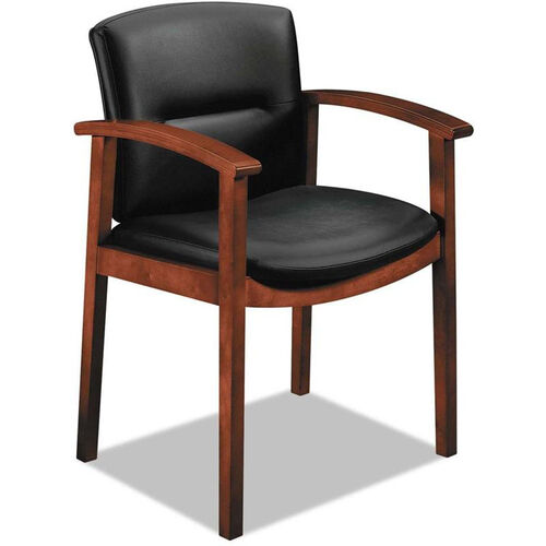 Our HON® 5000 Series Park Avenue Collection Wood Frame Guest Arm Chair, with Black Leather Seat and Back - Cognac is on sale now.