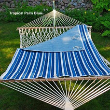 Reversible Quilted Polyester Hammock Pad - Tropical Palm Blue Stripe and Powder Blue Solid