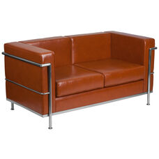 HERCULES Regal Series Contemporary Cognac Leather Loveseat with Encasing Frame