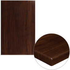 """30"""" x 48"""" Rectangular High-Gloss Walnut Resin Table Top with 2"""" Thick Edge"""