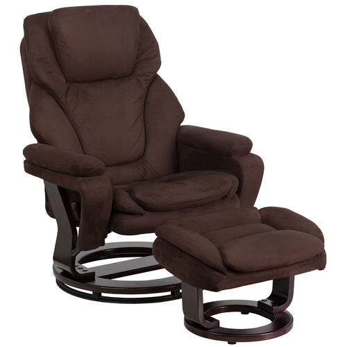 Our Contemporary Multi-Position Recliner and Ottoman with Swivel Mahogany Wood Base in Brown Microfiber is on sale now.