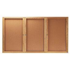 3 Door Enclosed Bulletin Board with Oak Finish - 36