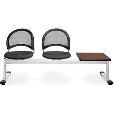 Moon 3-Beam Seating with 2 Slate Gray Fabric Seats and 1 Table - Mahogany Finish