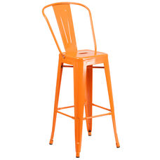 "Commercial Grade 30"" High Orange Metal Indoor-Outdoor Barstool with Removable Back"