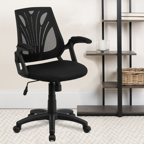 Mid-Back Designer Mesh Swivel Task Office Chair with Open Arms