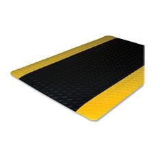 Genuine Joe Anti -Fatigue Mat - Beveled Edge - Yellow Border - Black
