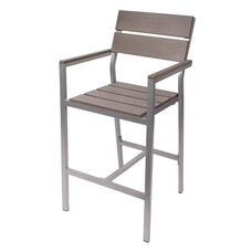 Seaside Aluminum Barstool with Arms - Soft Gray