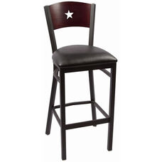 Liberty Series Wood Back Armless Barstool with Steel Frame and Vinyl Seat - Mahogany