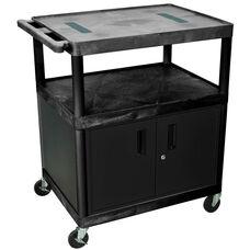 2 Shelf Mobile A/V Cart with Locking Cabinet - Black - 32
