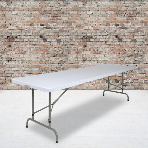8-Foot Height Adjustable Granite White Plastic Folding Table
