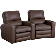 Manor Two Seater Home Theater - Wedge Arm in Top Grain Leather
