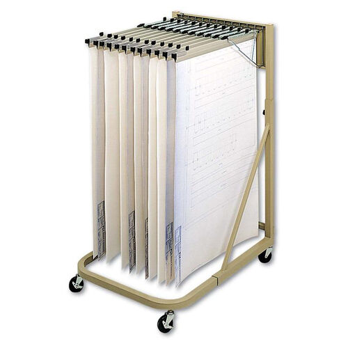 Our Safco® Steel Sheet File Mobile Rack - 12 Hanging Clamps - 27w x 37 1/2d x 61 1/2h - Sand is on sale now.