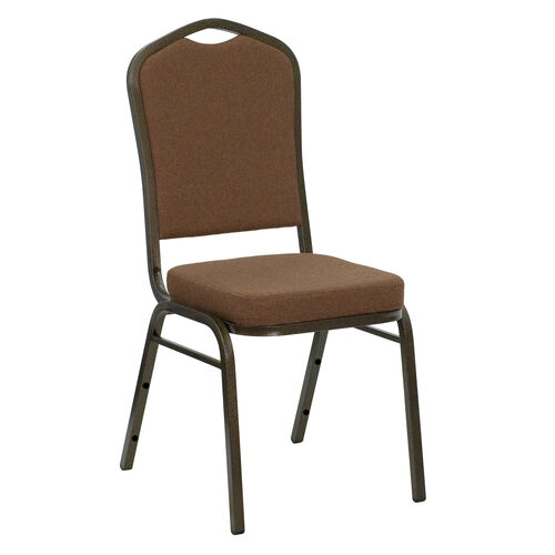 Our HERCULES Series Crown Back Stacking Banquet Chair in Coffee Fabric - Gold Vein Frame is on sale now.