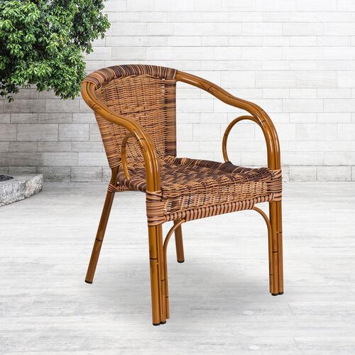 Cadiz Series Rattan Restaurant Patio Chair with Bamboo-Aluminum Frame