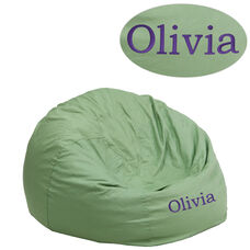 Personalized Small Solid Green Kids Bean Bag Chair