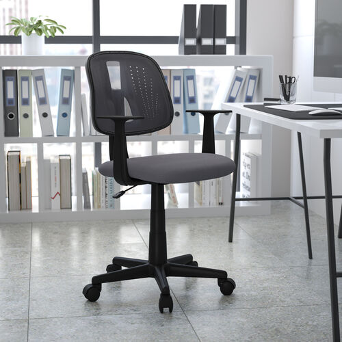 Mid-Back Gray Mesh Swivel Task Office Chair with Pivot Back, BIFMA Certified
