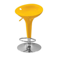 Sybill Acrylic Low Back Height Adjustable Swivel Barstool with Chrome Base - Set of 2 - Yellow